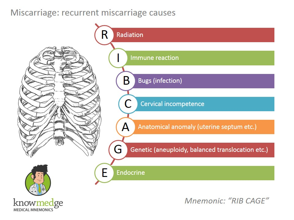 Medical Mnemonics: Causes of Miscarriage can be remembered by RIB CAGE